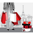 woman carrying shopping bags in Paris city vector image vector image
