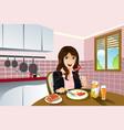 woman eating breakfast vector image