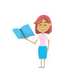 woman teacher with school tool in the hand vector image vector image