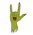 zombie hand horns satan sign finger up gesture vector image