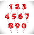 red number 1 2 3 4 5 6 7 8 9 0 metallic balloon vector image