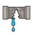 colored crayon silhouette of water pipe broken vector image
