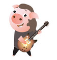 a funny cheerfull rockstar piggy plays guitar vector image vector image