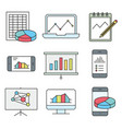 analysis statistics line icons chart vector image