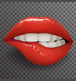 biting lip female mouth stylish fashion mockup vector image