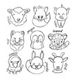 collection cute animals vector image vector image