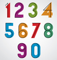 Colorful binary simple numbers with black thin vector image