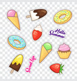 dessert stickers vector image