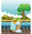 Ducklings playing in a pail full of bubbles vector image vector image