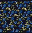 floral embroidery seamless pattern with blue vector image