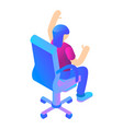 girl at armchair icon isometric style vector image