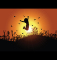 girl jumping against sunset sky 3001 vector image vector image