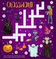 halloween crossword grid puzzle game with monsters vector image