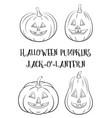 halloween pumpkins set contours vector image vector image