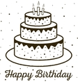 Happy Birthday greeting card birthday cake vector image vector image