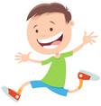 happy running boy cartoon character vector image
