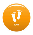 human step icon orange vector image