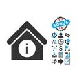 Info Building Flat Icon with Bonus vector image vector image