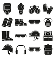 Job safety equipment icons set vector image vector image