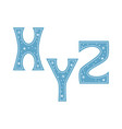 letters x y z decorated with snowflakes isolated vector image vector image
