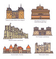 medieval european castles and fortin in linecolor vector image vector image