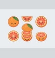 orange fruit set cute kawaii food faces vector image vector image