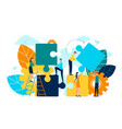 people working together making up puzzle pieces vector image