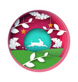 rabbit cartoon paper landscape vector image vector image