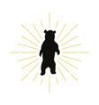 retro standing bear silhouette logo vector image
