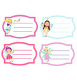 school labels with beautiful flying fairy name vector image