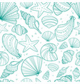 sea shell doodle seamless pattern vector image