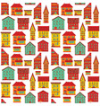 seamless flat house pattern-07 vector image vector image