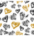 seamless heart pattern black white and gold ink vector image vector image