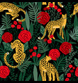 seamless pattern with leopards and roses vector image vector image
