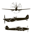 second world war fighters set vector image vector image