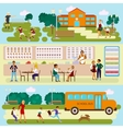 Set Isolated of school vector image vector image