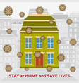 stay at home and save lives background covid-19 vector image vector image