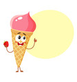 strawberry ice cream character in wafer cone with vector image vector image