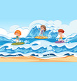 surfer on surf holiday vector image