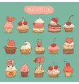 Sweet Cupcakes Set Retro Hand Drawn vector image