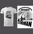 t-shirt with woman guitarist vector image
