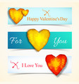 three valentines day banner set vector image vector image