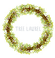Tree laurel - round frame vector image