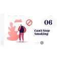 unhealthy bad habit tobacco addiction website vector image vector image