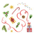 watercolor christmas set with fir tree vector image