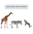 wild animals retro cartoon animal collection vector image
