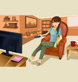 woman watching television vector image