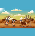 a indian couple with horse in the dry desert vector image vector image