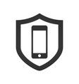 a shield icon with a smartphone vector image vector image