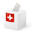 Ballot box with voicing paper Switzerland vector image vector image